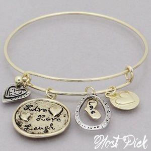 Jewelry - Live love laugh gold tone hinge bangle bracelet