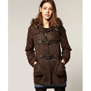 ASOS Ladies Brown Waxed Duffle Fur-hood Coat