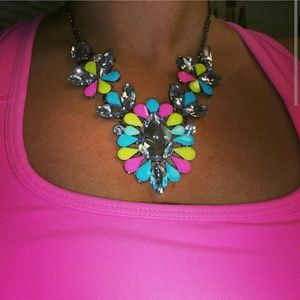 Neon floral statement necklace