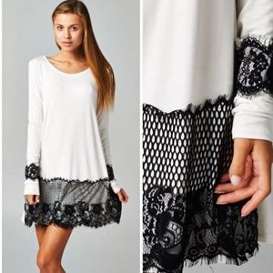 New White W/ Black Lace Trim Design Tunic Dress❤️