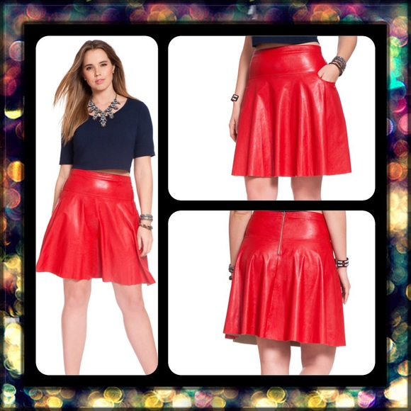Eloquii Skirts Plus Size Red Faux Leather Skater Skirt Poshmark