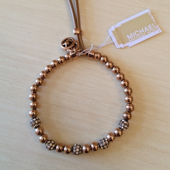 4d68f63324a7 NWT Michael Kors Rose Gold Bead Stretch Bracelet