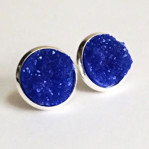 thejeweladdict Jewelry - 3 for 15🎀 chunky blue Drusy style earrings