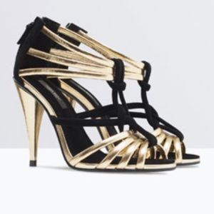 NWT Gold Zara High Heel Sandals
