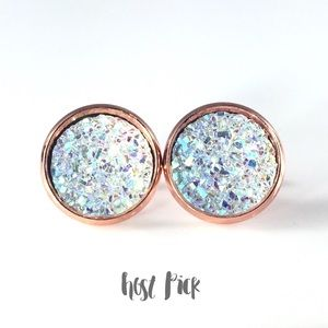 thejeweladdict Jewelry - 3 for 15🎀sparkly Drusy style rose gold earrings