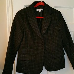 New York & Co. Coated Houndstooth Black Blazer