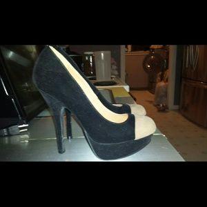 Black and tan qupid heels