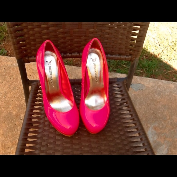 38 justfab shoes neon pink platform shoes