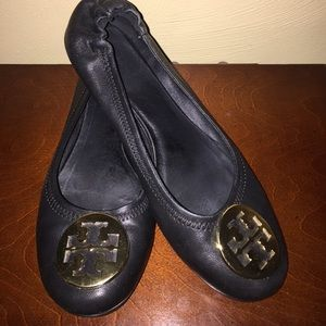 Tory Burch Reva Flats Black with Gold