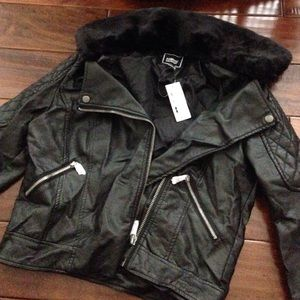 Topshop leather jacket with fur collar dupe