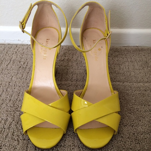 Kate Spade Patent Yellow Shoes