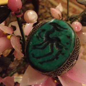 Jewelry - Antique engraved turquoise Giraffe ring