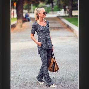 New Zara grey knit flared trouser pants