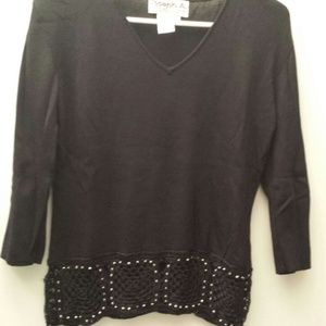 Black 3/4 sleeve top with crochet bottom