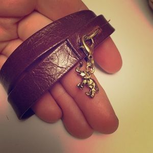 Jewelry - Leather wrap bracelet w/ elephant charm