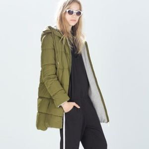 Zara Quilted coat with hood