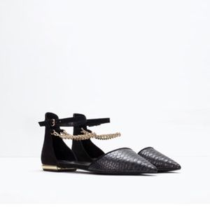 Zara D'orsay Flats with Metal chain