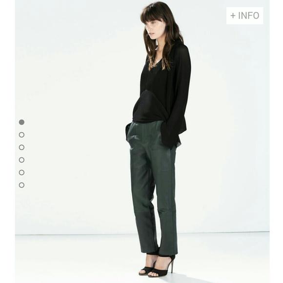 e957effa Zara Pants | Green Leather Trousers | Poshmark
