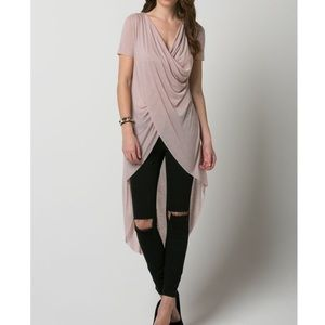 "Bare Anthology Tops - ""The Poet"" Draped Front High Low Top"