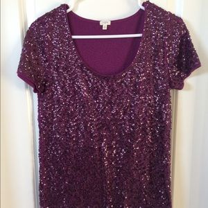 NWOT J.Crew purple sequin top