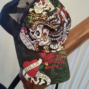 Authentic Ed Hardy Embroidered Love Kills Ball Cap