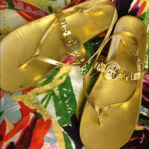 GUC: Tory Burch gold flat sandals, fits 8.5 or 9