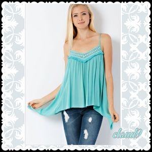 Cloud 9 Tops - 🆕Totally Turquoise Boho Cami Top NEW
