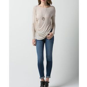 "Bare Anthology Tops - ""Temperance"" Draped Side Long a Sleeve Top"