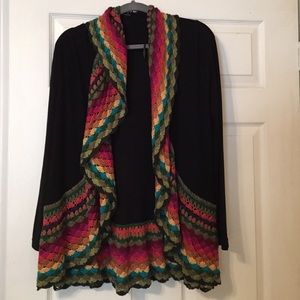 Riff Raff Sweaters - Black sweater with Colorful knitted trimming