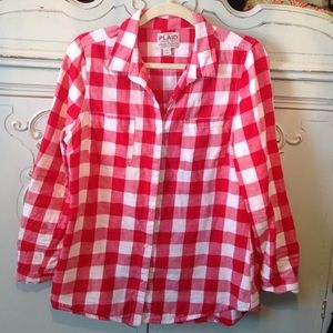 Old navy red plaid flannel button up shirt for Navy blue and red flannel shirt