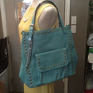 Handbags - Lovely Mint Faux Leather Studded Bag!