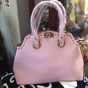 Handbags - Pretty in Pink, Large Faux Studded Bag!