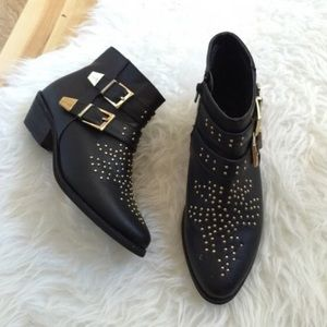 Forever 21 Chloe Bootie Studded Black Ankle Boot 6
