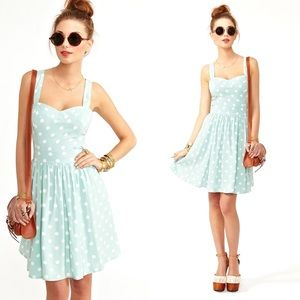 RARE Nasty Gal peppermint retro polka dot dress