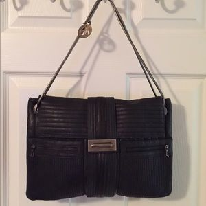 Lanvin Black Silver Leather Shoulder Bag