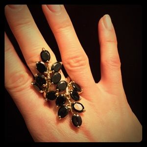 Show stopper black&gold color ring size 7 cocktail