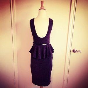 Dresses & Skirts - Metallic Violet Jersey Belted Peplum Dress