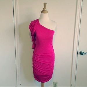 Dresses & Skirts - Fuchsia One Shoulder Jersey Dress