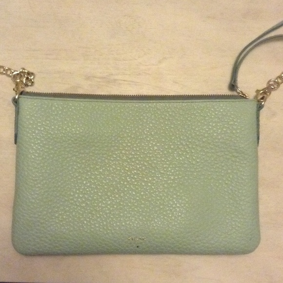 83% off Fossil Handbags - Fossil Mint Green Leather Crossbody from ...