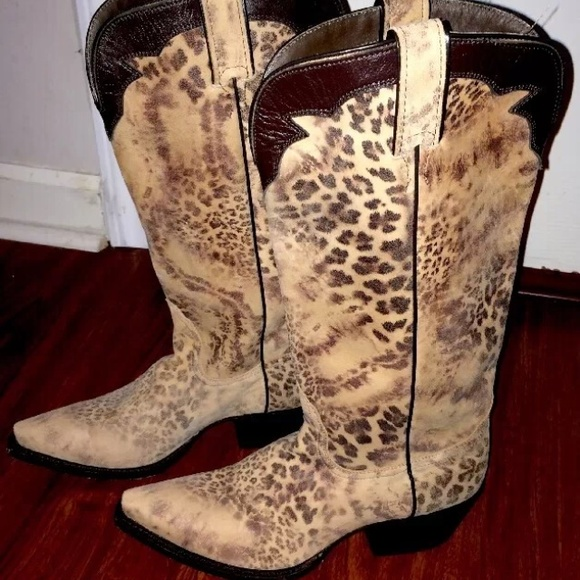123a7507048 Nocona distressed leopard cowhide cowgirl boots
