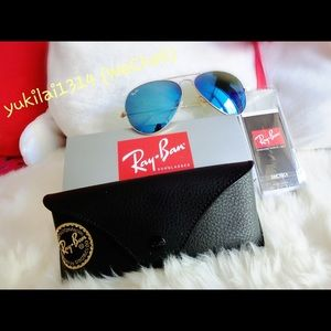 Authentic Rayban aviator blue mirror sunglass