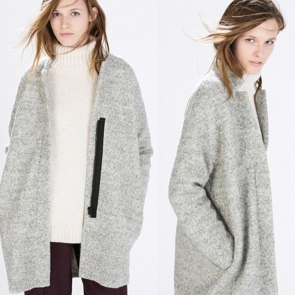 Zara grey woolen oversized jacket