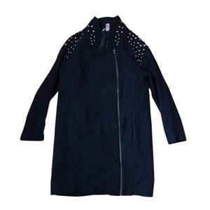 H&M Jackets & Blazers - H&M Black Embellished Wool Overcoat