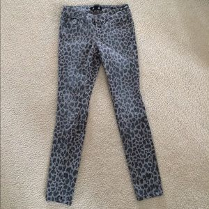 Skinny jeans bundle. grey animal print, dark blue