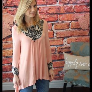 Floral lace print contrast high low tunic