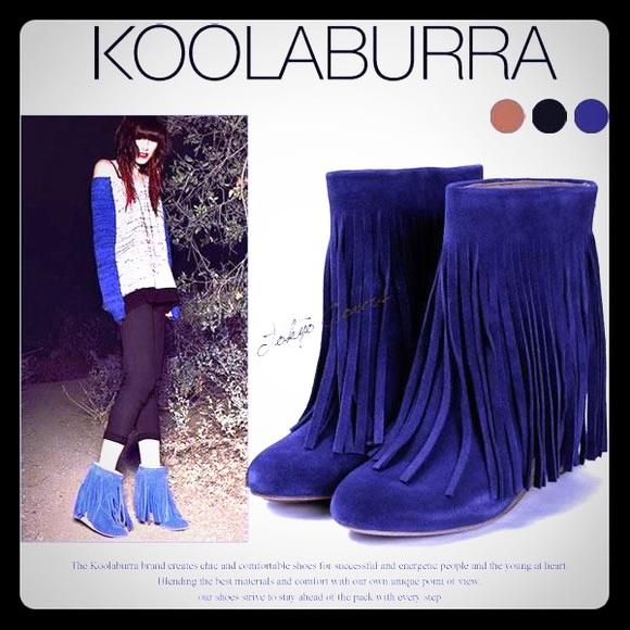 120d50865a94 Koolaburra Boots - NEW! KOOLABURRA Blue Fringe Wedge Booties