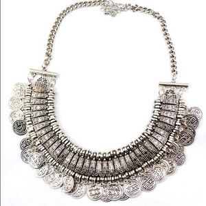 Bohemian Gypsy Turkish Antique Coin Bib Necklace