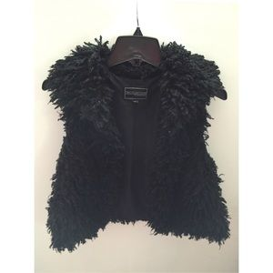 Faux fur black vest