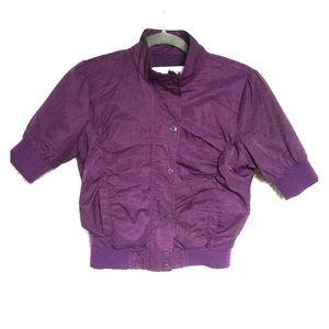 Ashley by 26 International Jackets & Blazers - Purple Crop Jacket Zip & Button Up