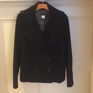 J Crew black wool pea coat size 8